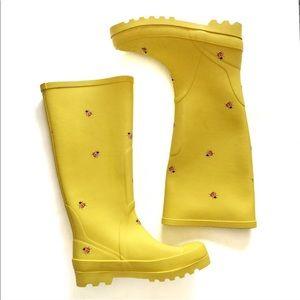 J. Crew yellow ladybug rain boots